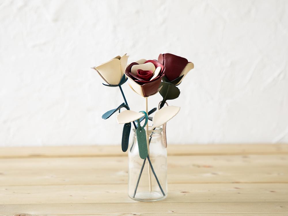 革の一輪花(バラ)ギャラリー画像1